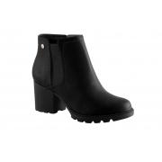 Bota Via Uno Ankle Boot Salto Grosso Tratorado 4750 Feminina