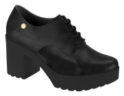 Sapato Oxford Moleca Salto Tratorado 5647.211 Feminino Preto
