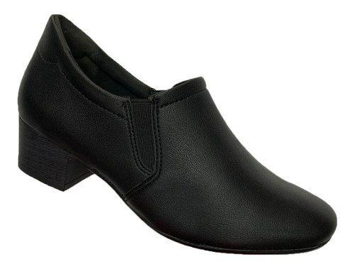 Sapato Comfortflex Uniforme Salto 1886305 Feminino Preto
