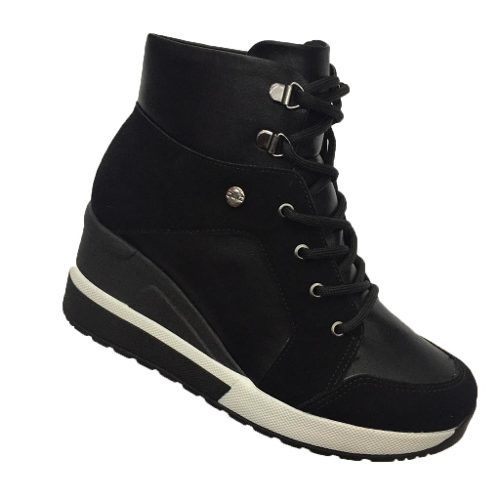 Bota Sneaker Quiz Plataforma Cadarço 6737924 Feminina Preto