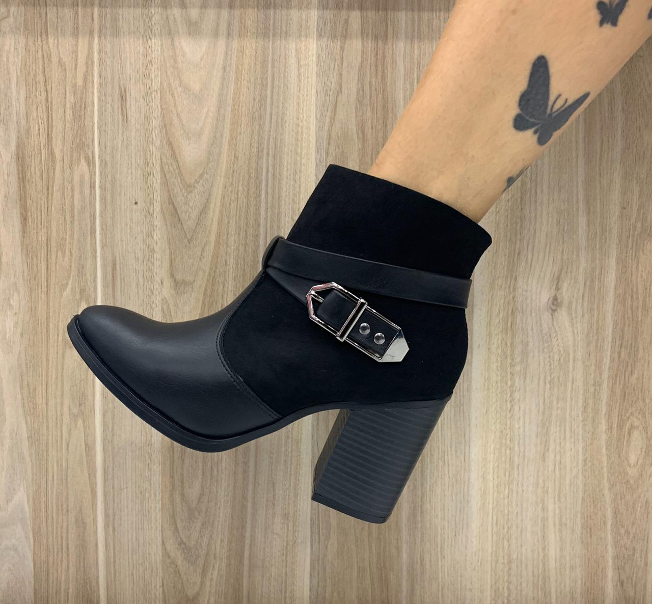 Bota Ramarim Ankle Boot Salto Grosso Cano Curto 1916101 Feminina