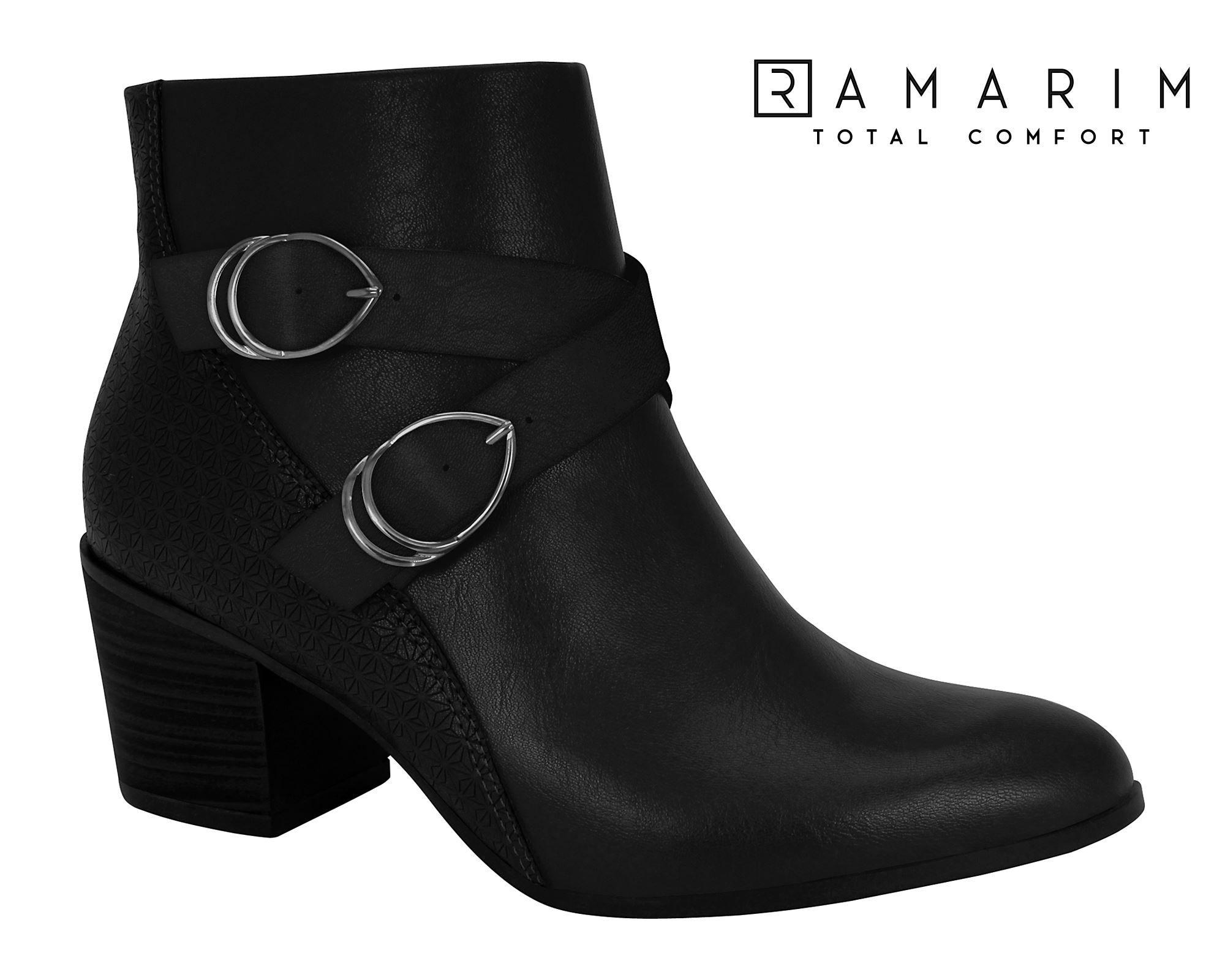 Bota Ramarim Cano Curto Salto Grosso Ankle Boot 1964101 Feminina