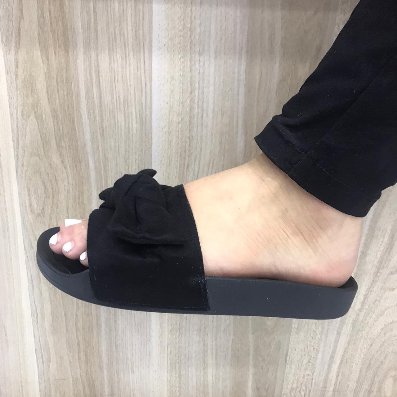 Chinelo Moleca Slide Com Laço 5414.104 Feminino Preto