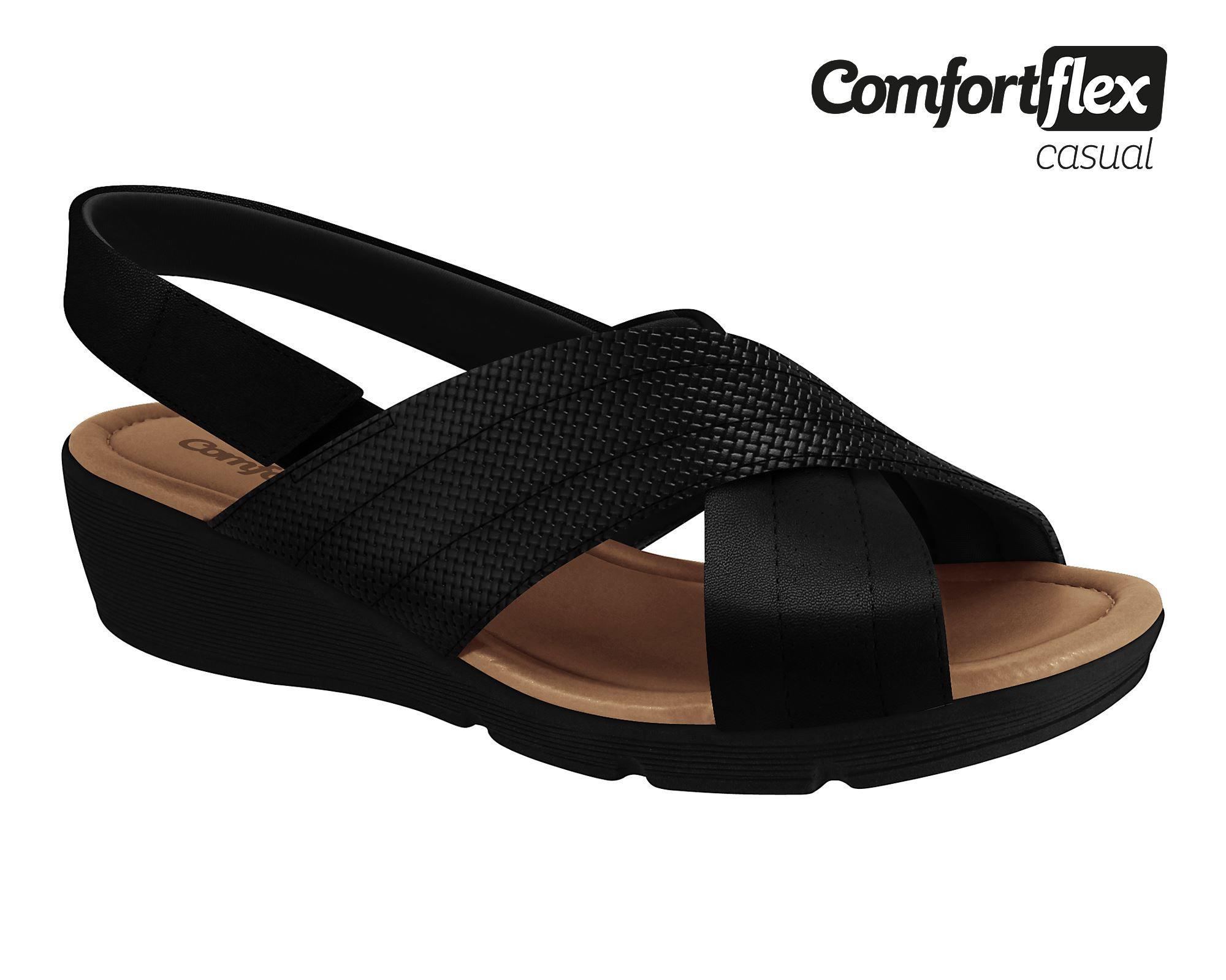 Sandália Comfortflex Anabela Confortável 1968425 Feminina