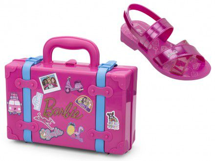Sandália Grendene Barbie Com Maleta Volta ao Mundo Infantil