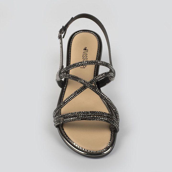Sandália Rasteira Mississipi De Pedras Brilho Q1763 Feminino