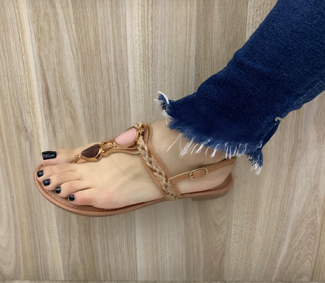 Sandália Rasteira Mississipi Com Pedras Q1362 Feminina