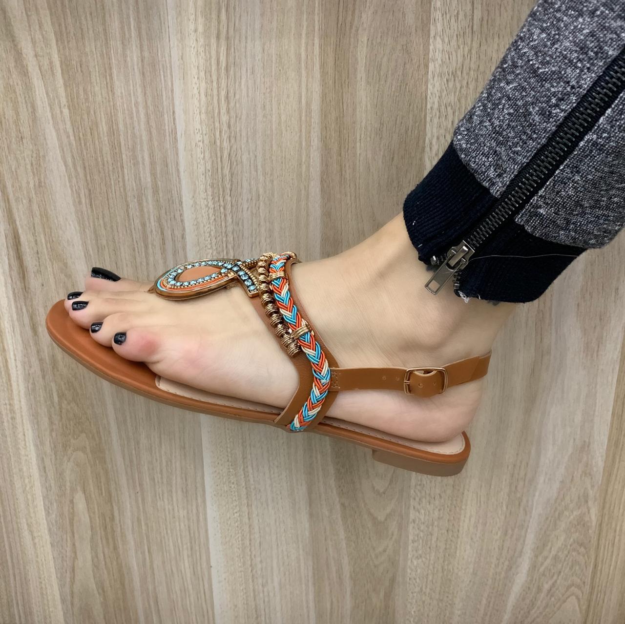 Sandália Rasterinha Dakota Com Pedras Z5652 Feminina