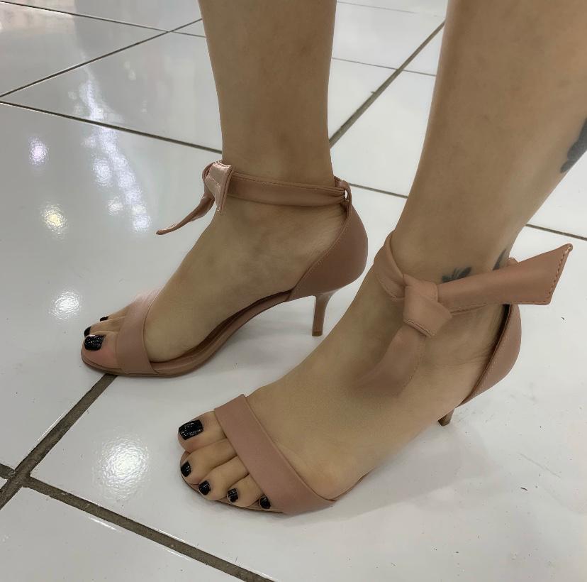 Sandália Vizzano Salto Fino Com Laço 6276. Feminina Napa