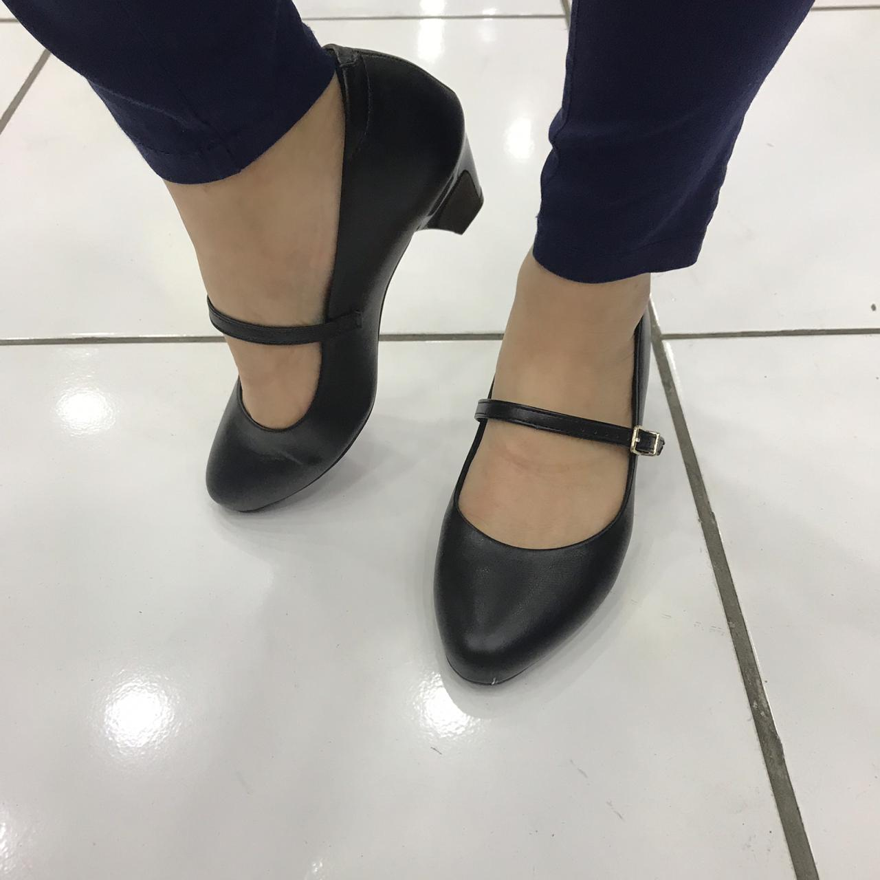 Sapato Boneca Modare Salto Grosso Baixo De Uniforme 7005.641 Feminino Preto