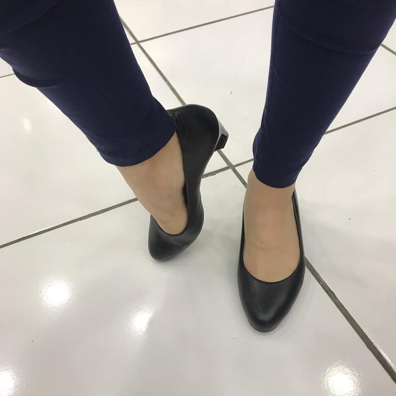 Sapato Modare Salto Grosso Baixo De Uniforme 7005.600 Feminino Preto