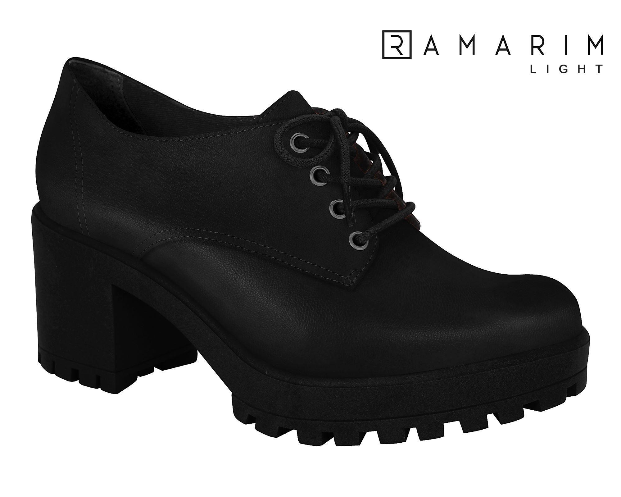 Sapato Oxford Ramarim Salto Grosso Tratorado 1956103 Feminino