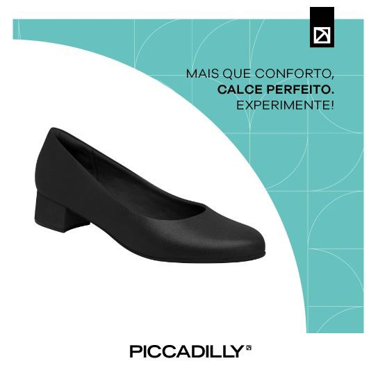 Sapato Piccadilly 140110 Baixo De Uniforme Feminino Preto