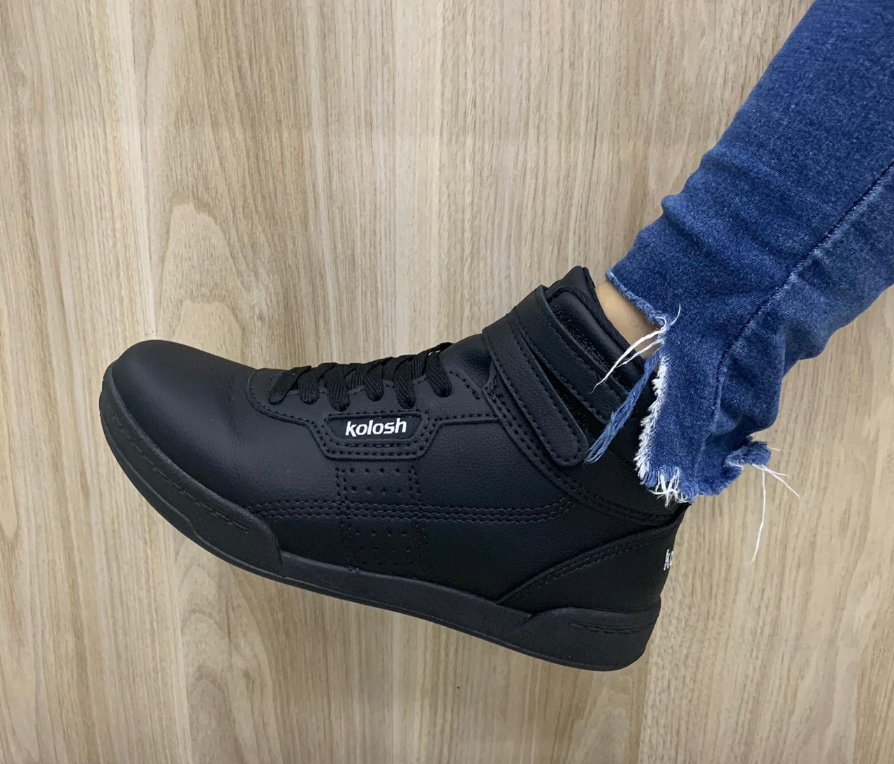 Tênis Kolosh Sneaker Cano Alto Bota Velcro C1668 Feminino