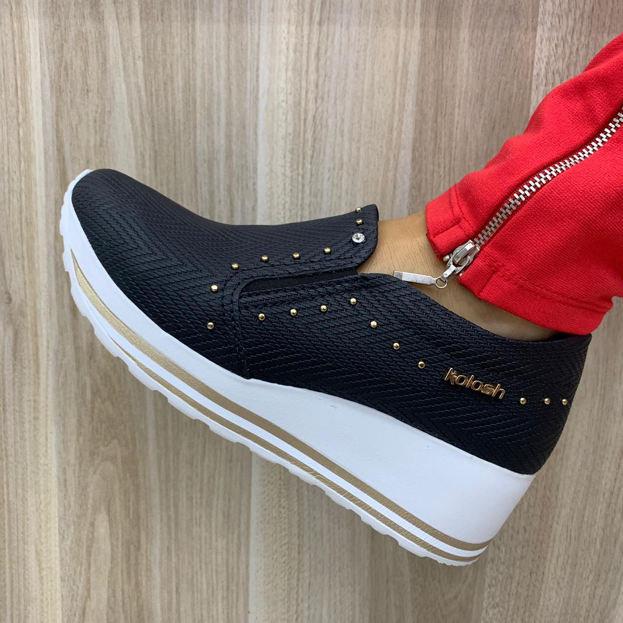 Tênis Kolosh Sneaker Plataforma Anabela Leve C1408 Feminino