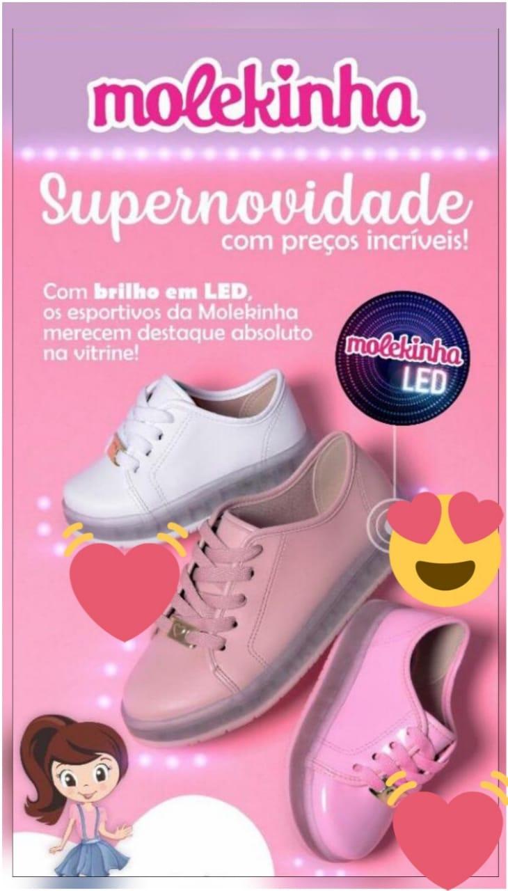 Tênis Molekinha Led Luz Com Luzinha 2532100 Infantil Meninas