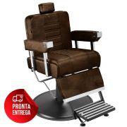 Cadeira de Barbeiro Detroit com Encosto e Apoio de Pé Reclináveis - Pé Preto