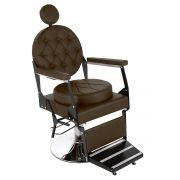 Cadeira de Barbeiro Reclinável Ônix Pé Redondo
