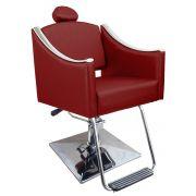 Cadeira de Cabeleireiro Cristal Encosto Reclinável - Pé Quadrado