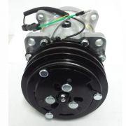Compressor de ar condicionado Denso 7H15 - Polia V Dupla - Saída horizontal