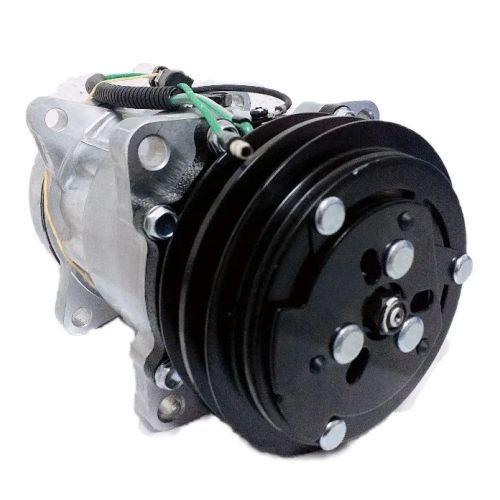 Compressor de ar condicionado Denso 7H15 - Polia V Dupla - 24 Volts - Saída Horizontal