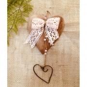 Coração Artesanal com Laço Rosa