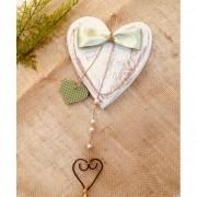 Coração Artesanal com Laço Verde