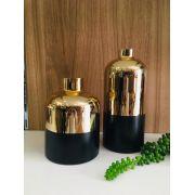 Dupla de Vasos Dourado Preto em Vidro
