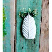 Vaso de Cerâmica Folha Branca