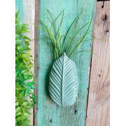 Vaso de Parede Cerâmica Folha Verde