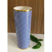 Vaso em Cerâmica Azul e Dourado