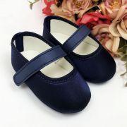 Sapatilha Azul Marinho de Cetim com Fecho em  Velcro