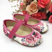 Sapatilha Floral Pink em Tecido com Solado de Borracha