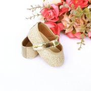 Sapatilha Lonita Gliter Dourado com Fecho em  Velcro
