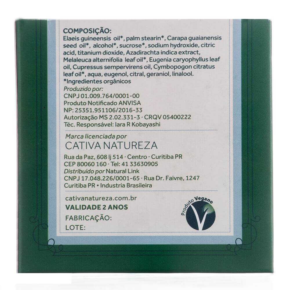 Cativa Natureza Sabonete Natural Orgânico Vegano de Andiroba 100g