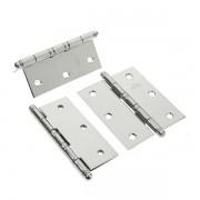Conjunto de Dobradiça de Aço c/ Anel Para Porta - 3x2 1/2 Cromado  3 unidades c/ Parafuso
