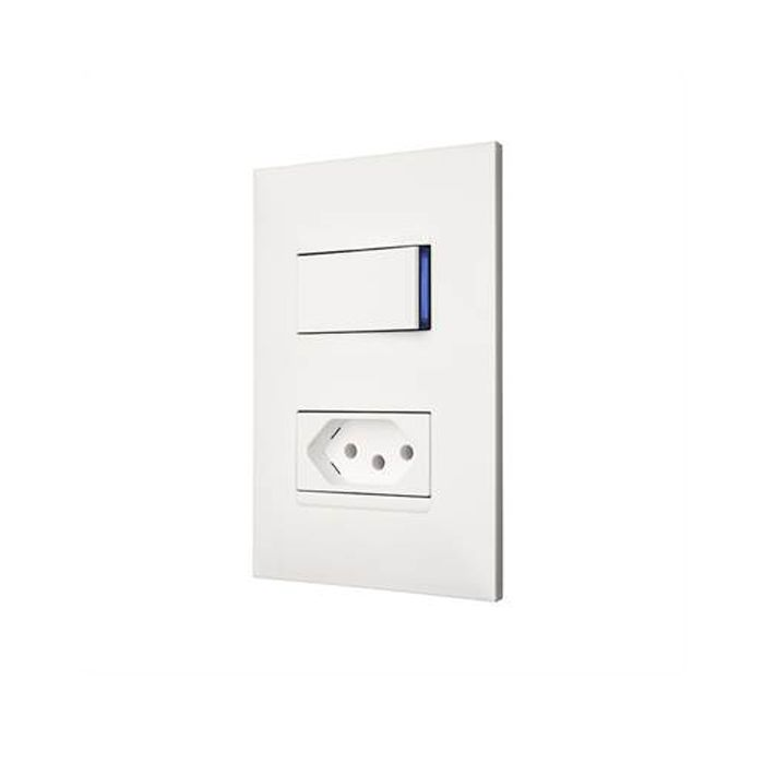 Conjunto Interruptor + Tomada 10A Pial Plus +