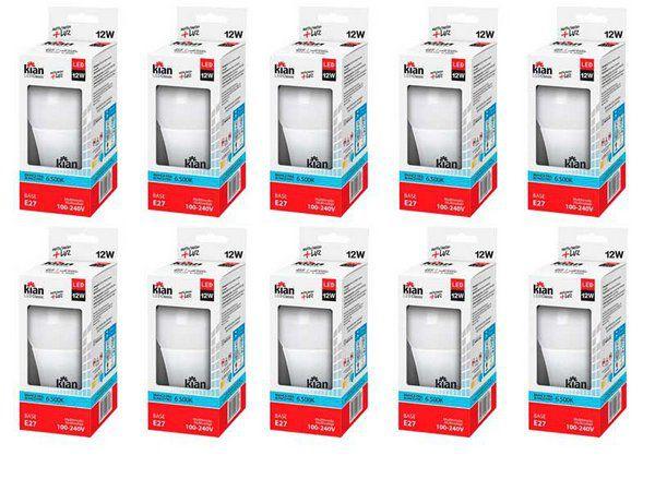 Kit 10 Lâmpadas LED 12w 6500k Branca Bivolt