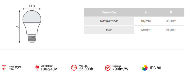 Kit 10 Lâmpadas LED 9w 6500k Branca Bivolt
