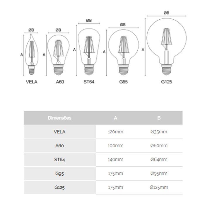 Lâmpada Led Filamento A60 2.2k E27