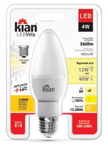 Lâmpada LED Vela E14 4w 3000k Cristal Bivolt E27