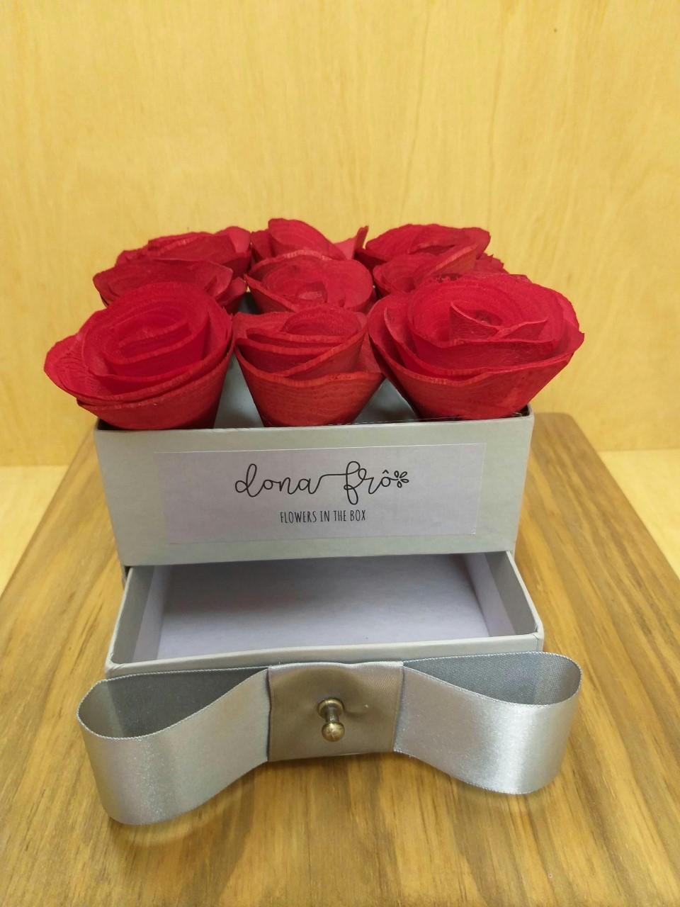 Caixa Flowers box Quadrada gaveta