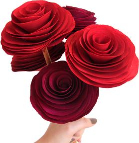 Flor de madeira - Rosa