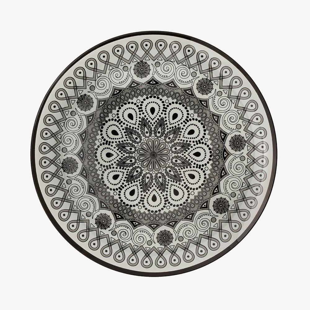 Jogo de pratos redondos Mandala 3 peças