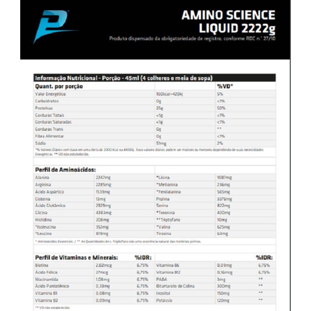 AMINO SCIENCE LIQUID 2222 - 474ml - PERFORMANCE NUTRITION