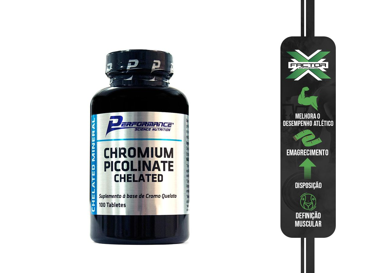 CHROMIUM PICOLINATE CHELATED - 100 TABS - PERFORMANCE NUTRITION