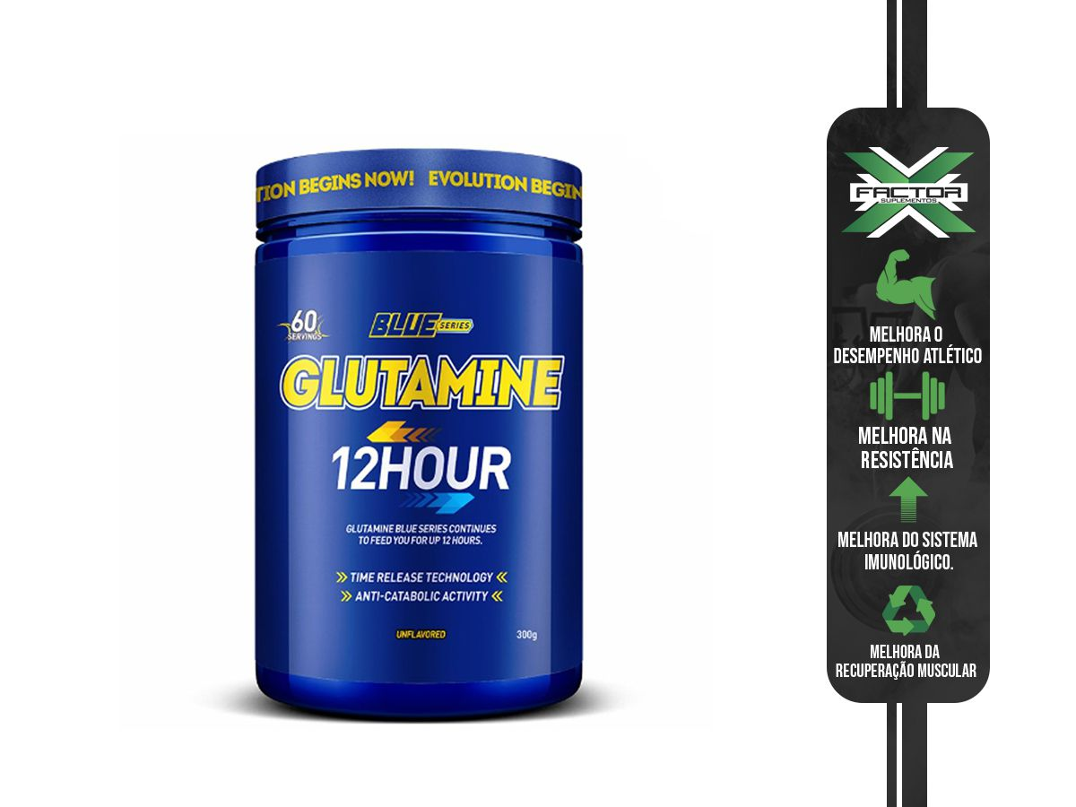 GLUTAMINE 12 HOUR - 300G - BLUE SERIES - SEM SABOR
