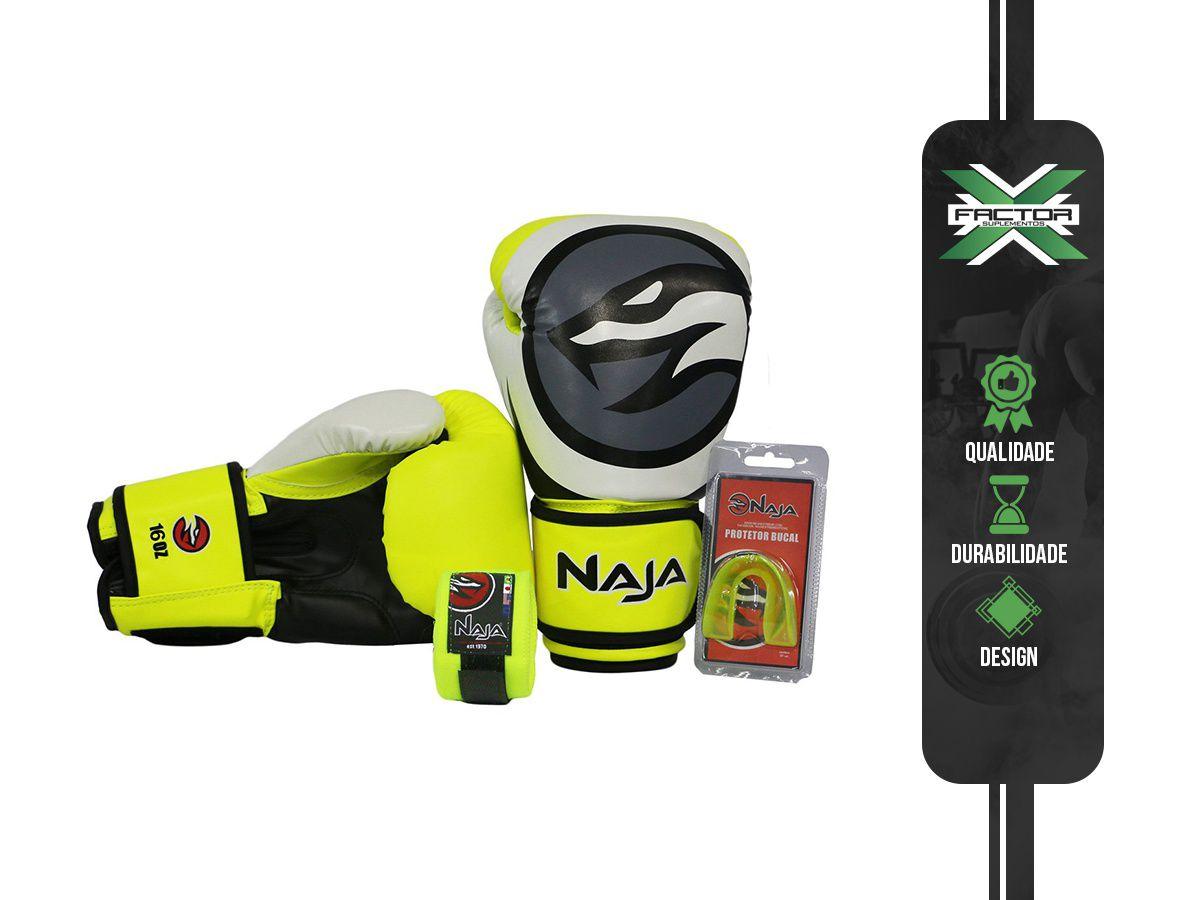 Kit Luva Boxe/Muay Thai Naja Colors + Bandagem + Protetor Bucal 10/12/14/16Oz - AMARELA