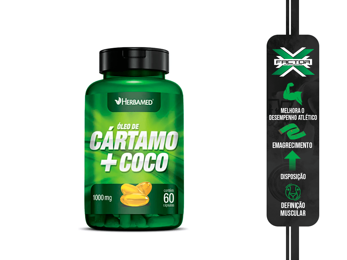 OLEO DE CARTAMO + COCO 60CAPS/1000MG HERBAMED