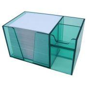 Organizador de mesa verde clear c/papel branco 954 5  Acrimet